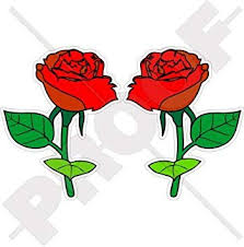 Amazon Com Red Roses Flowers English Rose 75mm 3 Vinyl Bumper Stickers Decals X2 Automotive