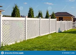 White Vinyl Fence In A Cottage Village Several Panels Are Connected By Columns Fencing Of Private Property Stock Photo Image Of Corner Landscape 182938600