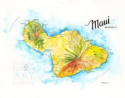 Maui Map Watercolor Illustration Hi Hawaiian Islands Map Etsy