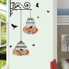 Bibitime 2 Flower Wreath Birdcages With Black Birds Wall Decal Vinyl Butterfly Sticker For Office Window Living Room Porch Door Back Kitchen Bedroom Diy Art Mural Amazon Com