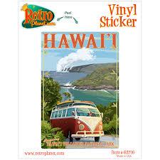 Hawaii Volcanoes Natl Park Vw Bus Vinyl Sticker At Retro Planet
