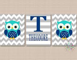 Owls Nursery Wall Art Navy Blue Gray Teal Owls Boy Nursery Decor Chevr Sweet Blooms Decor