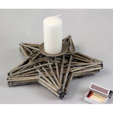 star candle holder made of willow for 1