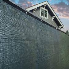 Aleko 48 In X 300 In Dark Green Privacy Mesh Fabric Screen Fence With Grommets Uv Resistant Plk0425dg Hd The Home Depot