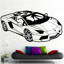 Sports Car Wall Vinyl Sticker Creative Wall Decor Racing Car Wall Decal For Home Decoration Removable Wal Art Mural Hj412 Wall Stickers Aliexpress