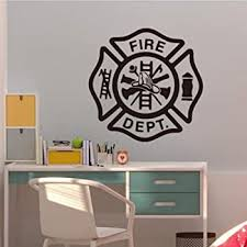 Amazon Com V Studios Vinyl Wall Decal Fire Department Emblem Shield Firefighter Stickers Vs240 Home Kitchen