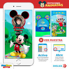 Tarjeta Video Invitacion Digital Cumpleanos Mickey Mouse 1 200 00 En Mercado Libre