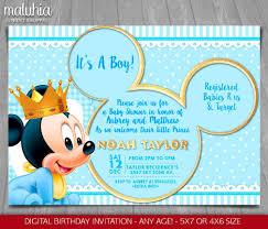 Invitacion De Mickey Mouse Bebe Ducha Invitacion Bebe Etsy