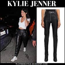 kylie jenner in black leather pants and