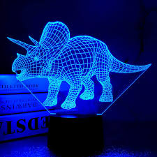 Dinosaur Night Light For Kids 3d Triceratops Lamp For Kids Room Home Decor Creative Gift For Xmas Birthday Boy Man Friends With 7 Colors Touch Control Usb Powered Amazon Com