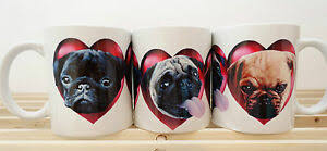 pug mug x 1 includes 3 coloured pugs