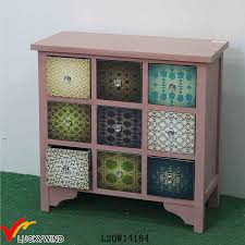 China Pink Decal Crystal Knobs Solid Antique Wooden Drawer Cabinet China Cabinet Wood Antique Colorful Wood Cabinet