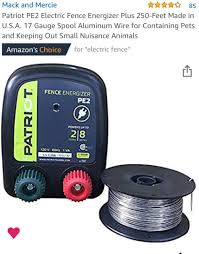 Amazon Com Patriot Pe2 Electric Fence Energizer Plus 250 Feet Made In U S A 17 Gauge Spool Aluminum Wire For Containing Pets And Keeping Out Small Nuisance Animals Home Improvement