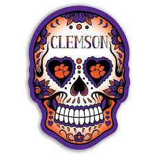 Clemson Tigers Skull Vinyl Decal Upstate Tailgate Inc