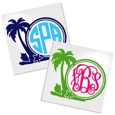 Palm Tree Monogram Decal For Cup Car Or Laptop Decals By Adavis