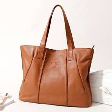 brown soft genuine leather tote bag