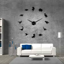 Dinosaurs Wall Art T Rex Diy Large Wall Clock Kids Room Decorative Acrylic Mirror Wall Clock Modern Watch Hermle Clock Home Clock From Qiansuning888 30 38 Dhgate Com