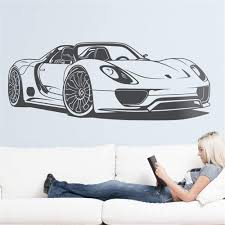 Amazon Com Gafuen Wall Art Decor Decals Removable Mural Car Wall Sticker Boy Room Decal Porsche 918 Spyder For Living Room Boys Room Home Kitchen
