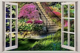 Garden View 3d Window Decal Wall Sticker Home