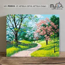 Tranh tự tô màu theo số sơn dầu số hóa Myart - Tranh phong cảnh vườn hoa  trong rừng mùa xuân PC0916