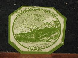 Old 1933 Grand Teton National Park Service Car Pass Windshield Sticker 1796646808