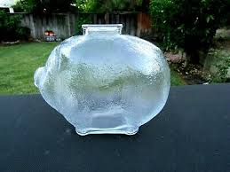 crystal clear glass large piggy penny
