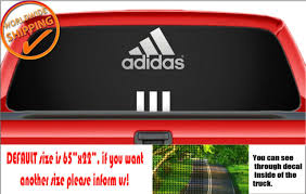W1196 Adidas Logo Emblem Car Decal Sticker Rear Window Perforated Truck Van For Sale Online Ebay
