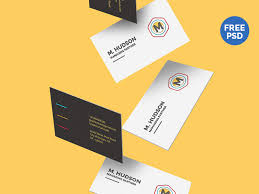 free falling business cards mockup by