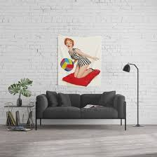 Pin Up Girl And Beach Ball Vintage Art Wall Tapestry By Retroroxie Society6