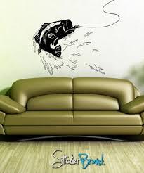 Vinyl Wall Decal Bass Fishing Gfoster101 Stickerbrand Housewares On Artfire Vinyl Wall Decals Wall Decals Vinyl Wall