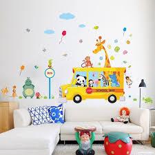 Giraffe Panda Zoo Animals School Bus Wall Stickers Gallery Wallrus Free Worldwide Shipping