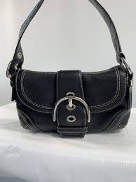 coach small black leather handbag purse