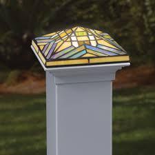 4x4 Filigreed Glass Solar Post Cap With Cedar Base Leaf Deckorators Outdoor Post Lights Solar Garden Lanterns Deck Post Lights