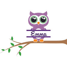 Owl On A Tree Bird Birds Owls Customized Wall Decal Custom Vinyl Wall Art Personalized Name