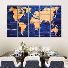 Birch Cork World Map Multi Panel Canvas Wall Art Elephantstock