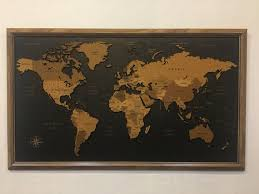 3d Cork World Map Push Pin Wall Art Home Office Decor Etsy