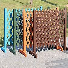 Amazon Com Chouchou Shelf Expanding Wooden Garden Wall Fence Panel Plant Climb Trellis Partition Decorative Garden Fence For Home Yard Garden Decoration Color Blue Furniture Decor