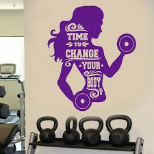 Woman Fitness Wall Decals For Gymnasium Sport Gym Logo Wall Sticker Decor Window Large Vinyl Wall Paper For Living Room Y155 Wall Stickers Aliexpress