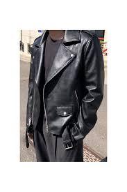 black faux leather jackets mens