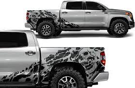 Amazon Com Factory Crafts Nightmare Side Graphics Kit 3m Vinyl Decal Wrap Compatible With Toyota Tundra Crew Cab 2014 2020 Matte Black Automotive