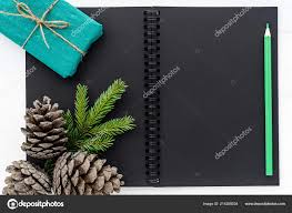 notepad cones spruce branches gifts