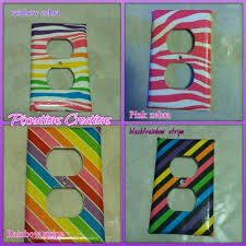 Neon Outlet Covers Bright Fun Rainbow Zebra Room Fun Etsy