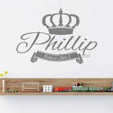 Waliicorners King Crown Personalized Name Wall Stickers Removable Wall Decal Monogram Boys Kids Vinyl Sticker Wall Decor Mural Poster Sa632 Waliicorner S Store