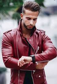 r s red fresh leather jacket