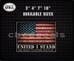 Motors American Flag United I Stand Decal Window Pledge Of Allegiance Usa Sticker 003 Car Truck Graphics Decals