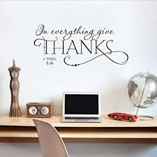 Amazon Com Smydp In Everything Give Thanks Christian Wall Stickers Home Decor Living Room Art Vinyl Wall Decals Diy Wallpaper Baby