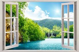 Forest Lake Scene 3d Window View Decal Wall Sticker Decor Art Mural H72 Huge Continue To The Product At The Image Link Note Window Mural Window View Mural