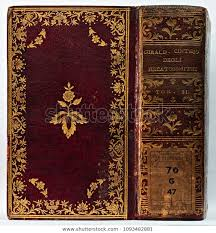 book cover spine gilded stock photo