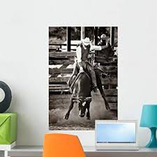Amazon Com Wallmonkeys Rodeo Cowboy Bull Riding Wall Mural Peel And Stick Graphic 24 In H X 16 In W Wm215578 Furniture Decor