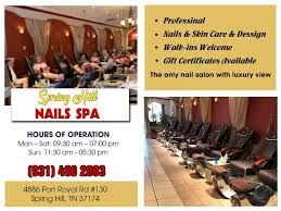 spring hill nails spa 931 486 2893